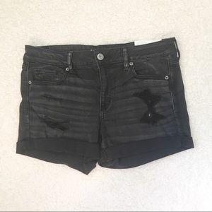 American Eagle Shorts 14 Jean Black Distressed